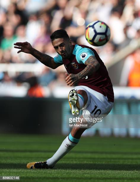 Manuel Lanzini of West Ham United shoots at goal during the Premier League match between Newcastle United and West Ham United at St James Park on...