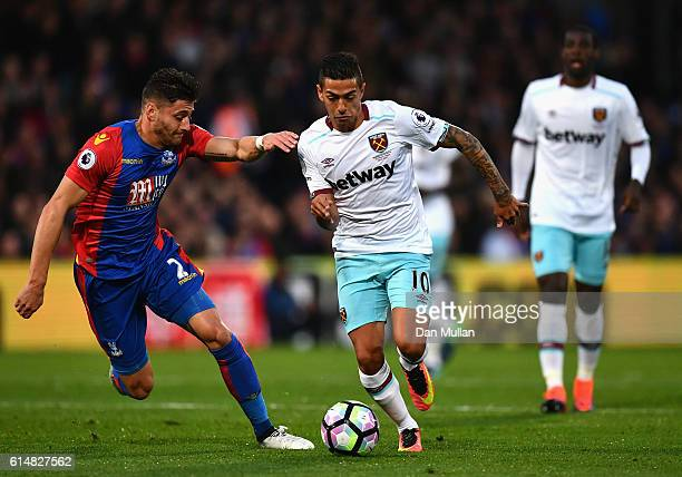 Manuel Lanzini of West Ham United takes on Joel Ward of Crystal Palace during the Premier League match between Crystal Palace and West Ham United at...