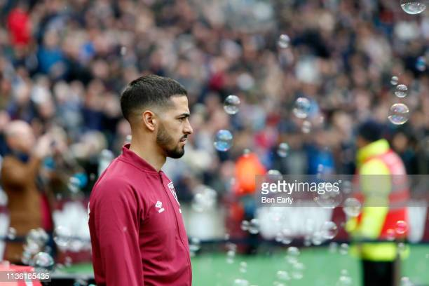 Manuel Lanzini of West Ham United walks out for the the Premier League match between West Ham United and Huddersfield Town at London Stadium on March...
