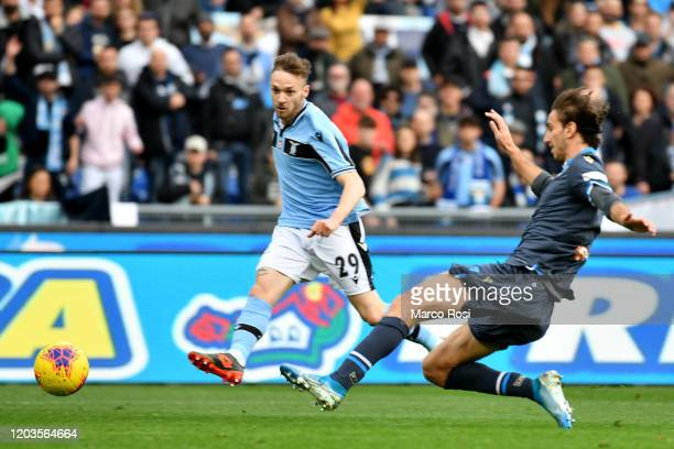 Manuel Lazzaeri of SS Lazio compete for the ball with Simone Missiroli of SPAL during the Serie A match between SS Lazio and SPAL at Stadio Olimpico...