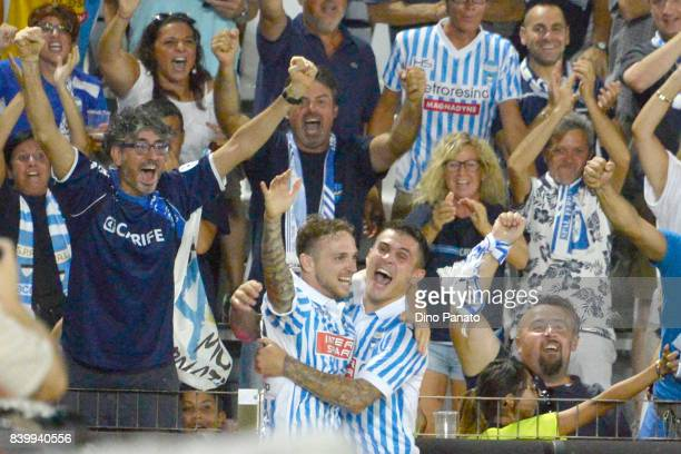 Manuel Lazzari of Spal celebrates after scoring his team's second goal during the Serie A match between Spal and Udinese Calcio at Stadio Paolo Mazza...
