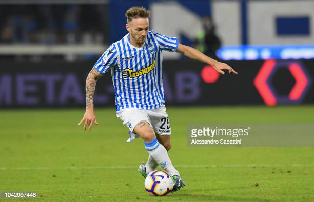 Manuel Lazzari of Spal in action during the Serie A match between SPAL and US Sassuolo at Stadio Paolo Mazza on September 27, 2018 in Ferrara, Italy.
