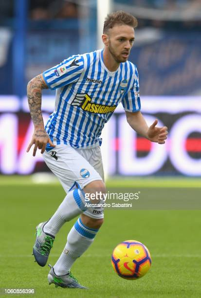 Manuel Lazzari of Spal in action during the Serie A match between SPAL and Frosinone Calcio at Stadio Paolo Mazza on October 28, 2018 in Ferrara,...