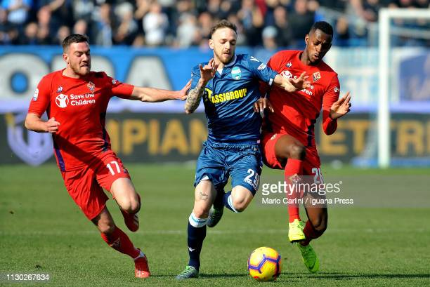 Manuel Lazzari of SPAL in action during the Serie A match between SPAL and ACF Fiorentina at Stadio Paolo Mazza on February 17 2019 in Ferrara Italy