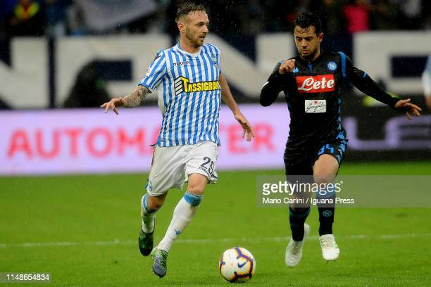 Manuel Lazzari of SPAL in action during the Serie A match between Spal and SSC Napoli at Stadio Paolo Mazza on May 12 2019 in Ferrara Italy