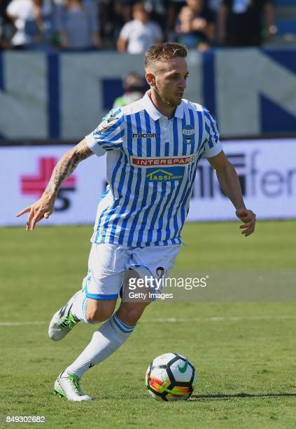 Manuel Lazzari of Spal in action during the Serie A match between Spal and Cagliari Calcio at Stadio Paolo Mazza on September 17, 2017 in Ferrara,...