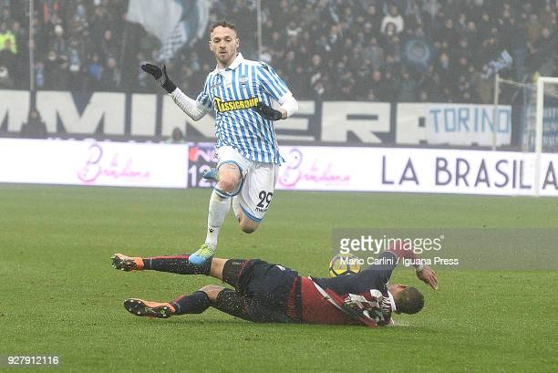 Manuel Lazzari of Spal in action during the serie A match between Spal and Bologna FC at Stadio Paolo Mazza on March 3 2018 in Ferrara Italy