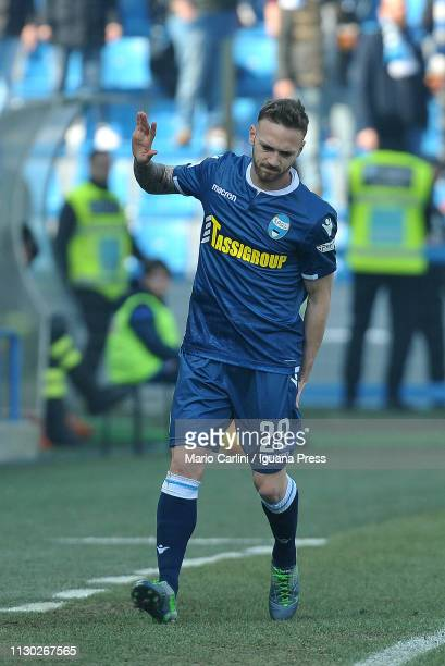 Manuel Lazzari of SPAL looks aching after a tackle during the Serie A match between SPAL and ACF Fiorentina at Stadio Paolo Mazza on February 17 2019...