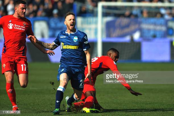 Manuel Lazzari of SPAL reacts during the Serie A match between SPAL and ACF Fiorentina at Stadio Paolo Mazza on February 17 2019 in Ferrara Italy