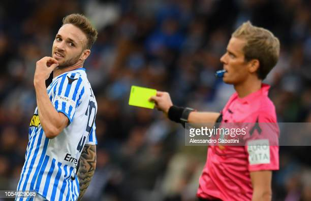 Manuel Lazzari of Spal recives a yellow card during the Serie A match between SPAL and Frosinone Calcio at Stadio Paolo Mazza on October 28, 2018 in...