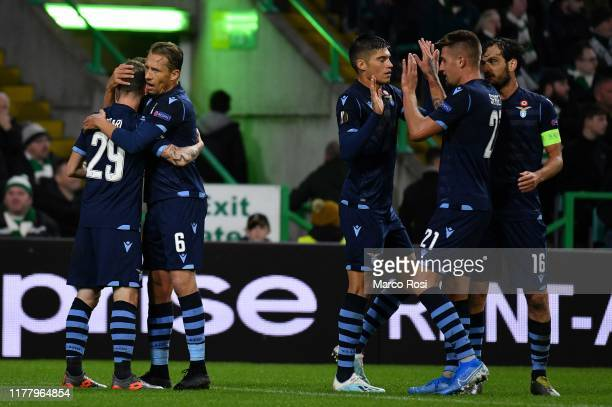 Manuel Lazzari of SS Lazio celebrate a opening goal with his team mates during the UEFA Europa League group E match between Celtic FC and Lazio Roma...