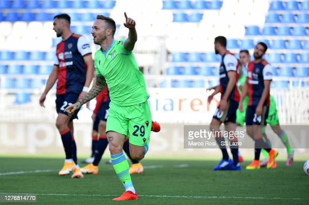 Manuel Lazzari of SS Lazio celebrates after scoring the opening goal during the Serie A match between Cagliari Calcio and SS Lazio at Sardegna Arena...