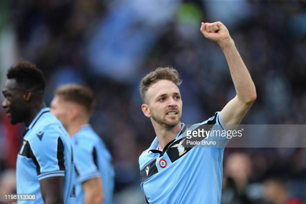 Manuel Lazzari of SS Lazio celebrates after the team's third goal scored by Ciro Immobile during the Serie A match between SS Lazio and SPAL at...