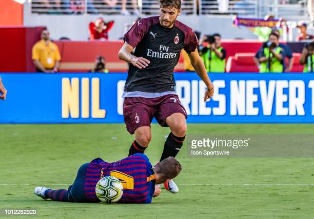 Manuel Locatelli Midfielder, AC Milan tries to negotiate over Arthur Melo Midfielder, FC Barcelona during the International Champions Cup match...