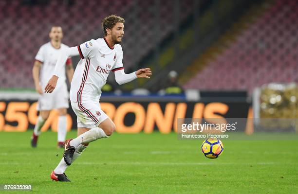 Manuel Locatelli of AC Milan in action during the Serie A match between SSC Napoli and AC Milan at Stadio San Paolo on November 18 2017 in Naples...