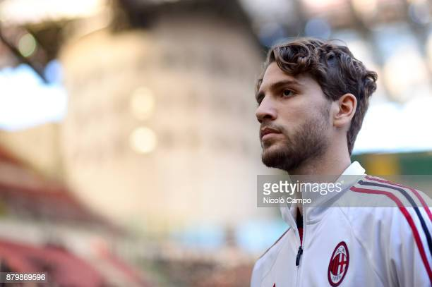 Manuel Locatelli of AC Milan looks on prior to the Serie A football match between AC Milan and Torino FC The match ended in a 00 tie