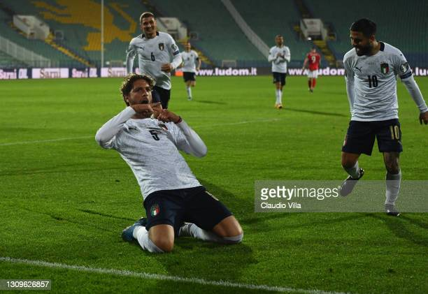 Manuel Locatelli of Italy celebrates after scoring the opening goal during the FIFA World Cup 2022 Qatar qualifying match between Bulgaria and Italy...