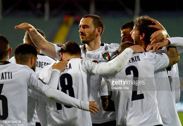 Manuel Locatelli of Italy celebrates after scoring the second goal during the FIFA World Cup 2022 Qatar qualifying match between Bulgaria and Italy...
