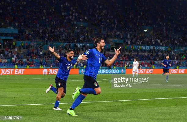 Manuel Locatelli of Italy celebrates after scoring their side's first goal during the UEFA Euro 2020 Championship Group A match between Italy and...