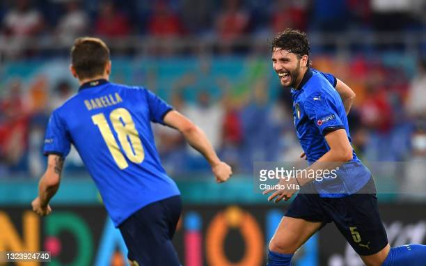 Manuel Locatelli of Italy celebrates with Nicolo Barella after scoring their side's first goal during the UEFA Euro 2020 Championship Group A match...