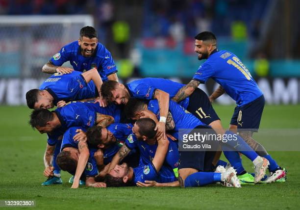 Manuel Locatelli of Italy celebrates with team mates after scoring their side's second goal during the UEFA Euro 2020 Championship Group A match...