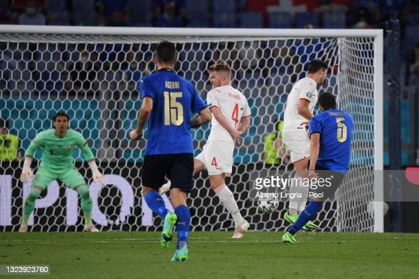 Manuel Locatelli of Italy scores their side's second goal during the UEFA Euro 2020 Championship Group A match between Italy and Switzerland at...
