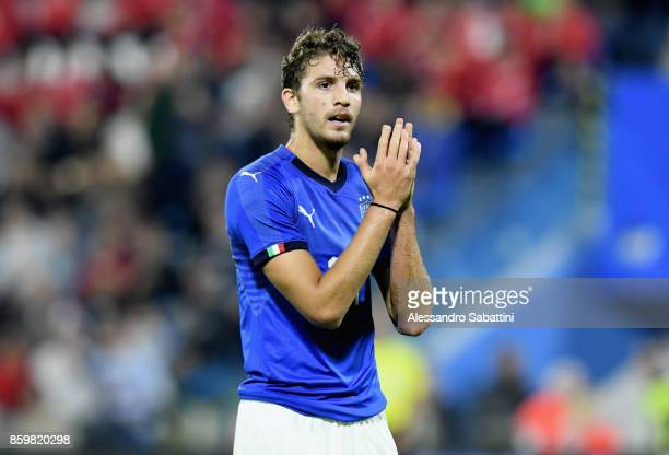 Manuel Locatelli of Italy U21 gestures during the international friendly match between Italy U21 and Morocco U21 at Stadio Paolo Mazza on October 10...