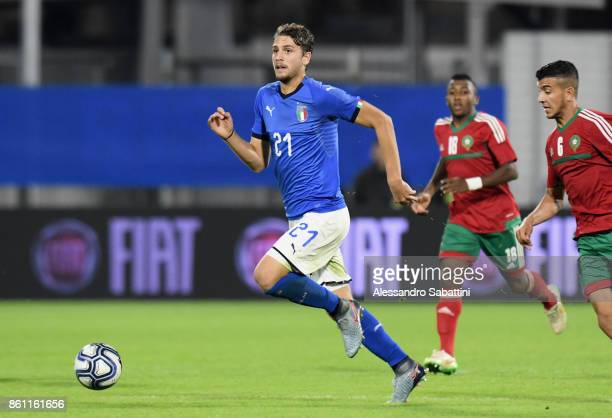 Manuel Locatelli of Italy U21 in action during the international friendly match between Italy U21 and Morocco U21 at Stadio Paolo Mazza on October 10...