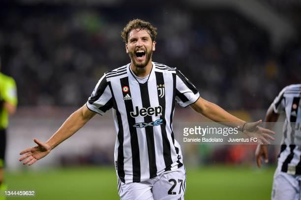 Manuel Locatelli of Juventus celebrates after scoring his team's first goal during the Serie A match between Torino FC v Juventus at Stadio Olimpico...