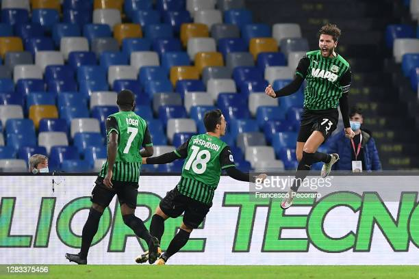 Manuel Locatelli of US Sassuolo celebrates after scoring the 0-1 goal during the Serie A match between SSC Napoli and US Sassuolo at Stadio San Paolo...