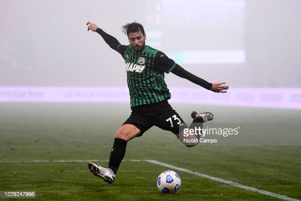 Manuel Locatelli of US Sassuolo kicks the ball during the Serie A football match between US Sassuolo and Torino FC The match ended 33 tie