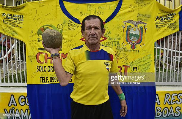 Manuel Loor fan of Ecuador prepares to welcome the Ecuadorian football team in Viamao on June 8 a few days prior to the start of the 2014 FIFA World...