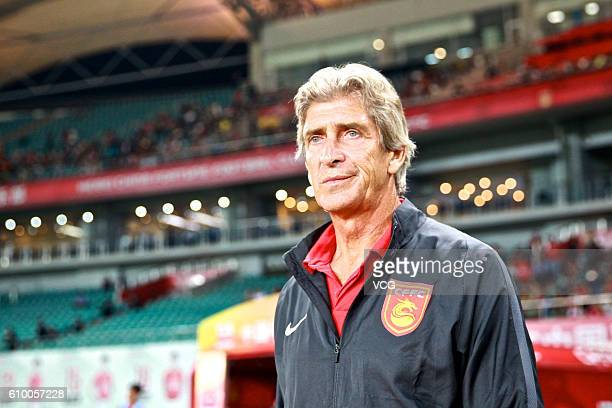 Manuel Luis Pellegrini Ripamonti head coach of Hebei China Fortune looks during the 26th round match of CSL Chinese Football Association Super League...