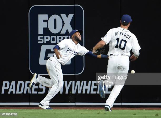 Manuel Margot of the San Diego Padres and Hunter Renfroe can't make the catch on a ball off the bat of Asdrubal Cabrera of the New York Mets that...