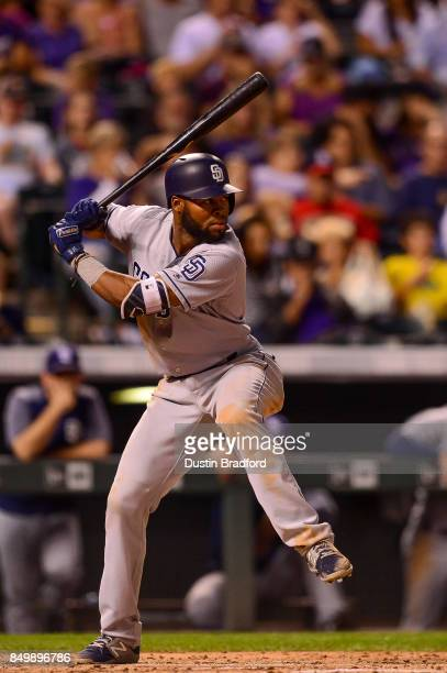 Manuel Margot of the San Diego Padres bats against the Colorado Rockies during a game at Coors Field on September 15 2017 in Denver Colorado