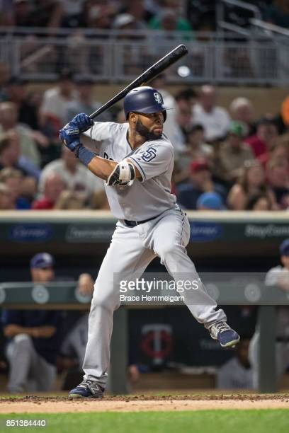 Manuel Margot of the San Diego Padres bats against the Minnesota Twins on September 13 2017 at Target Field in Minneapolis Minnesota The Twins...