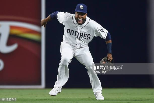 Manuel Margot of the San Diego Padres celebrates after the final out during the ninth inning of a baseball game against the San Francisco Giants at...