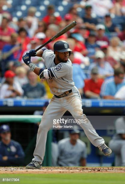 Manuel Margot of the San Diego Padres during a game against the Philadelphia Phillies at Citizens Bank Park on July 8 2017 in Philadelphia...