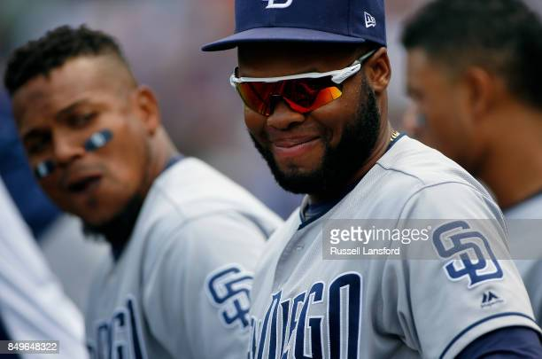 Manuel Margot of the San Diego Padres during a regular season MLB game between the Colorado Rockies and the visiting San Diego Padres at Coors Field...