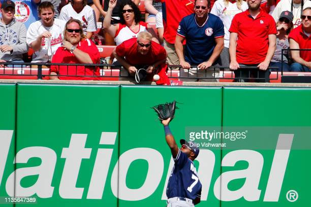 Manuel Margot of the San Diego Padres fields a fly ball against the St. Louis Cardinals in the fifth inning at Busch Stadium on April 7, 2019 in St....