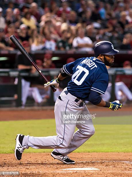Manuel Margot of the San Diego Padres grounds out to second in the fifth inning of the MLB game against the Arizona Diamondbacks at Chase Field on...