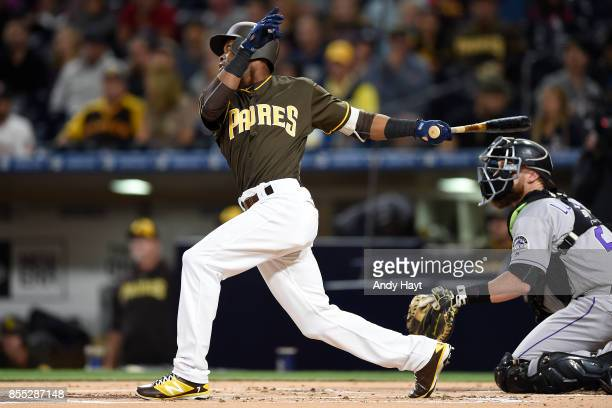 Manuel Margot of the San Diego Padres hits during the game against the Colorado Rockies at Petco Park on September 22 2017 in San Diego California