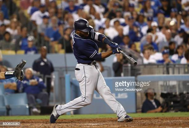 Manuel Margot of the San Diego Padres hits his second solo homerun of the game during the seventh inning of the MLB game against the Los Angeles...