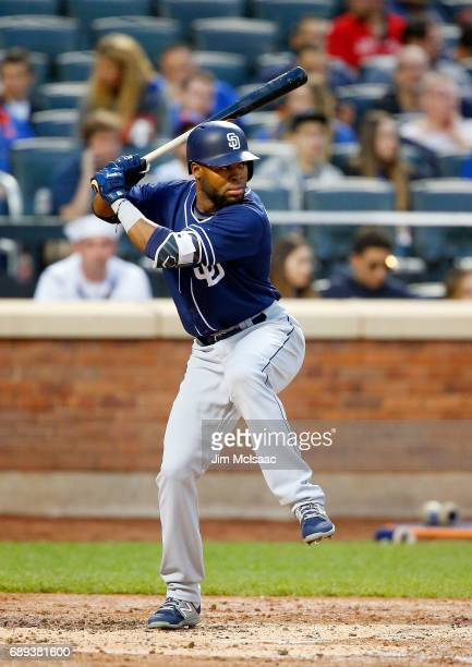 Manuel Margot of the San Diego Padres in action against the New York Mets at Citi Field on May 24 2017 in the Flushing neighborhood of the Queens...