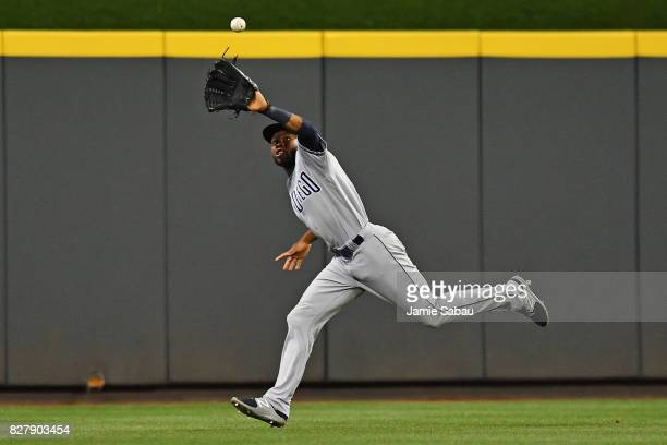 Manuel Margot of the San Diego Padres makes a running catch of a fly ball in the seventh inning against the Cincinnati Reds at Great American Ball...