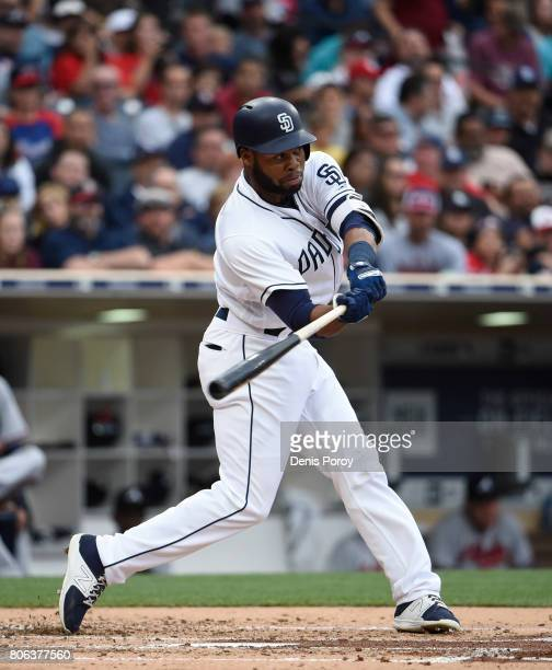 Manuel Margot of the San Diego Padres plays during a baseball game against the Atlanta Braves at PETCO Park on June 29 2017 in San Diego California