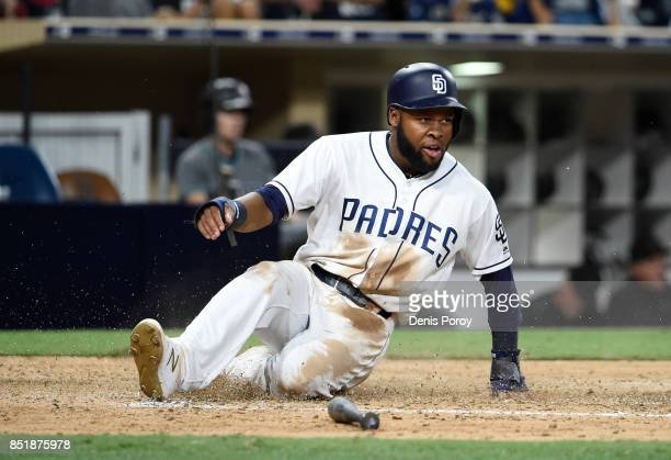 Manuel Margot of the San Diego Padres plays during a baseball game against the Arizona Diamondbacks at PETCO Park on September 19 2017 in San Diego...