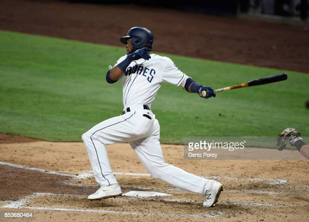 Manuel Margot of the San Diego Padres plays during a baseball game against the Colorado Rockies at PETCO Park on September 23 2017 in San Diego...