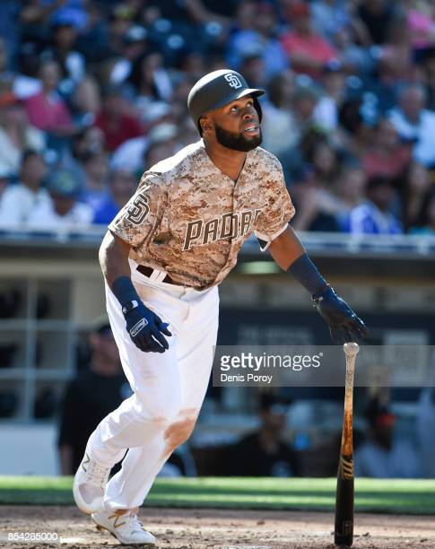 Manuel Margot of the San Diego Padres plays during a baseball game against the Colorado Rockies at PETCO Park on September 24 2017 in San Diego...