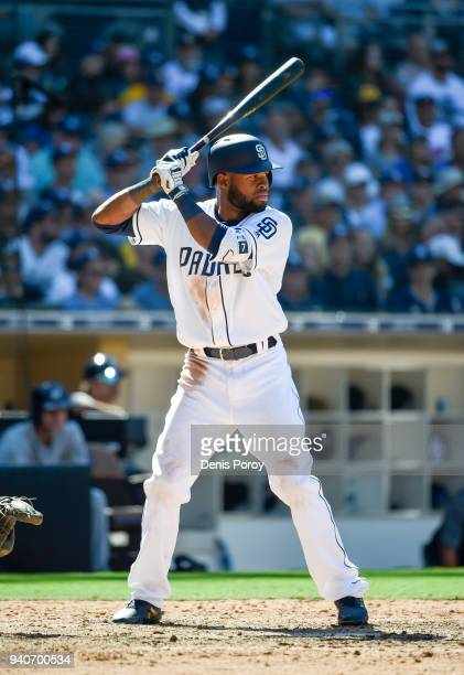 Manuel Margot of the San Diego Padres plays on Opening Day against the Milwaukee Brewers at PETCO Park on March 29 2018 in San Diego California...